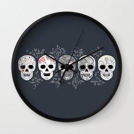 Celebracion de Gris_Calaveras Sugar Skulls line_RobinPickens Wall Clock