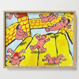 Pink People On Bouncy Castle Serving Tray