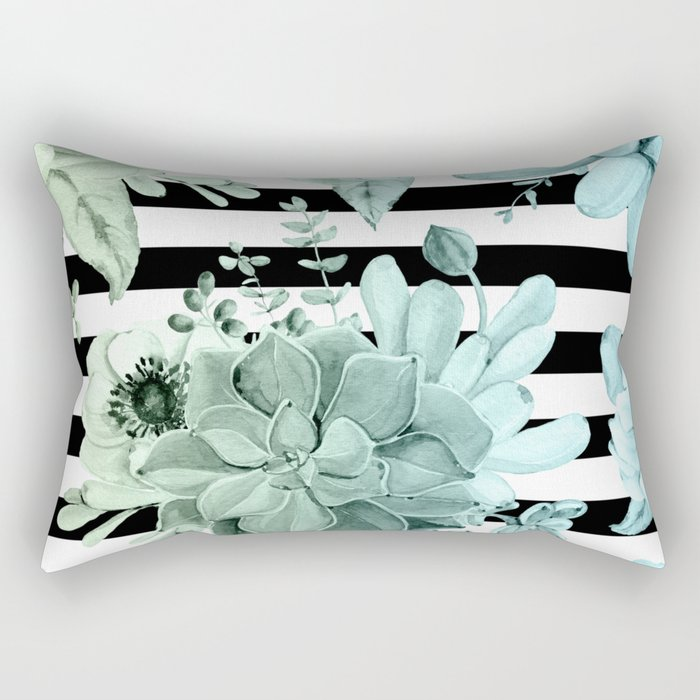 Succulents in the Garden Teal Blue Green Gradient with Black Stripes Rectangular Pillow