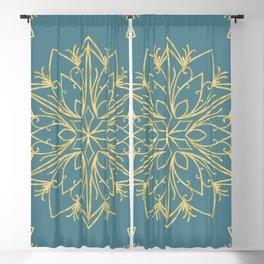 Golden Snowflake Teal Blackout Curtain