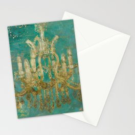 Gold and Peacock Chandelier Stationery Cards