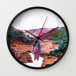 Astronaut and Colorful Landscape Wall Clock