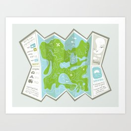 Totally Inaccurate Map of Gifford Pinchot State Park Art Print