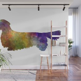 Dachshund Long Haired  in watercolor-2 Wall Mural