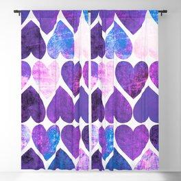 Mod Purple & Blue Grungy Hearts Design Blackout Curtain