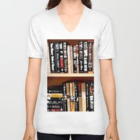 books V-neck T-shirts featuring Books by Regan's World
