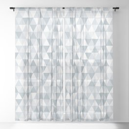 shades of ice gray triangles pattern Sheer Curtain
