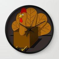 cock Wall Clocks featuring COCK BLOCK  by JON GRIM