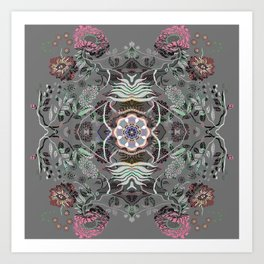 Boujee Boho Magical Floral Mandala Art Print