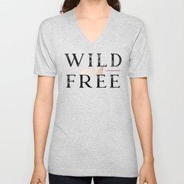Wild and Free Rose Gold on White Unisex V-Neck