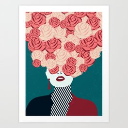 Women with roses Art Print