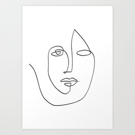 Abstract face One Line Art Art Print