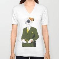 english bulldog V-neck T-shirts featuring English Bulldog by drawgood