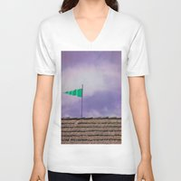 flag V-neck T-shirts featuring Flag by Maite Pons