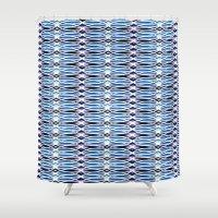 batik Shower Curtains featuring Blue Batik by Elena Indolfi