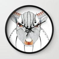 bull Wall Clocks featuring Bull by HandeAylan