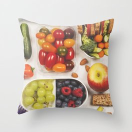 Healthy lunch box with sandwich and fresh vegetables Throw Pillow