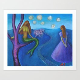 Alice and the Mermaid Art Print