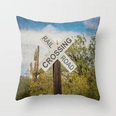 Railroad sign Throw Pillow