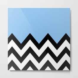 BLUE COLORBLOCK CHEVRON Metal Print