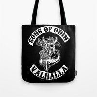 vikings Tote Bags featuring Sons of Odin Vikings Inspired by vie3