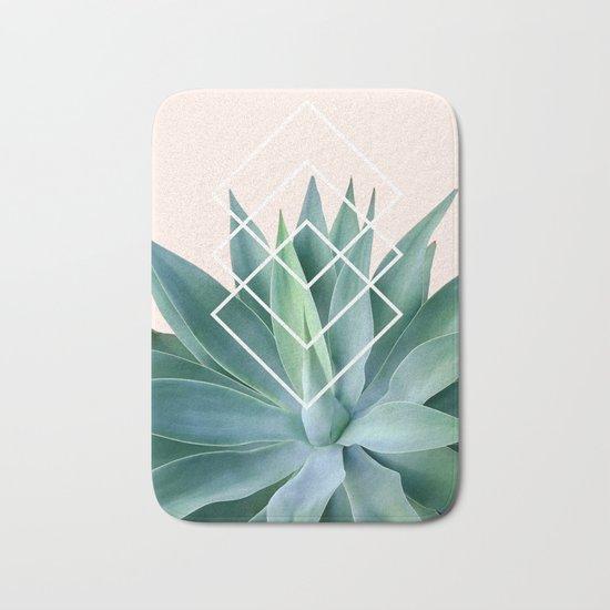 Agave geometrics - peach Bath Mat