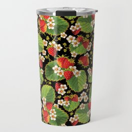 Strawberries Botanical Travel Mug