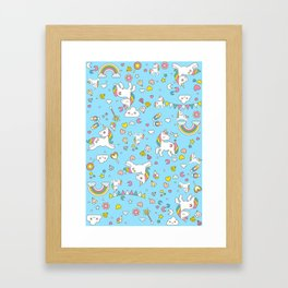 Unicorn Light Blue Pattern Framed Art Print