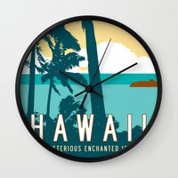 travel poster Wall Clocks featuring Hawaii Travel Poster by Michael Jon Watt