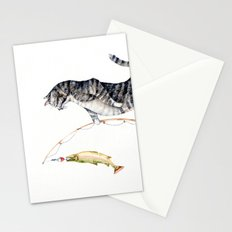 Cat with a Fish Stationery Cards