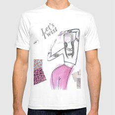 Let's Twist  White MEDIUM Mens Fitted Tee
