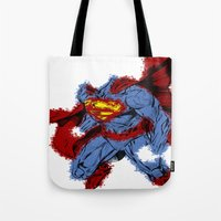 man of steel Tote Bags featuring Man Of Steel by alsalat