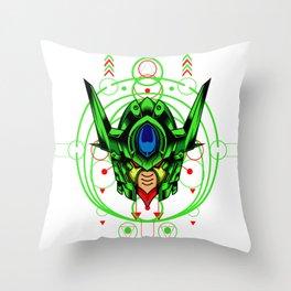Green Robot Throw Pillow