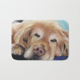 Sweet Sleeping Golden Retriever Puppy by annmariescreations Bath Mat