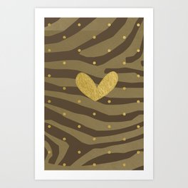 Classy Gold Print and Dots Art Print
