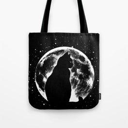 Cat Moon Silhouette Tote Bag