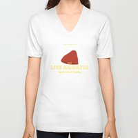 the life aquatic V-neck T-shirts featuring The Life Aquatic with Steve Zissou Beanie Poster by She's That Wallflower