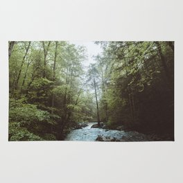 Peaceful Forest, Green Trees and Creek, Relaxing Water Sounds Rug