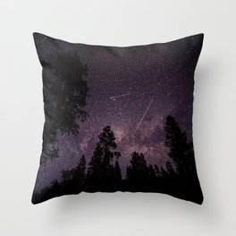 Busy Sky - Shooting Stars, Planes and Satellites in Colorado Night Sky Throw Pillow