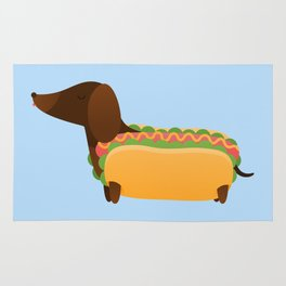 Wiener Dog in a Bun Rug