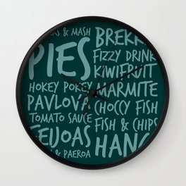 New Zealand Food - Kiwi Treats Pies, Pavlova, Kiwifruit, Marmite, Fish & Chips Wall Clock