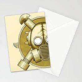 Art Deco Gasmask Crossbones Stationery Cards