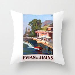1937 France Evian-Les-Bains Travel Poster Throw Pillow