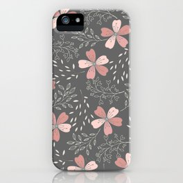 Pink Flowers on Gray background with vines iPhone Case