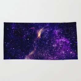 Ultra violet purple abstract galaxy Beach Towel