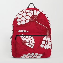 African Floral Motif on Red Backpack