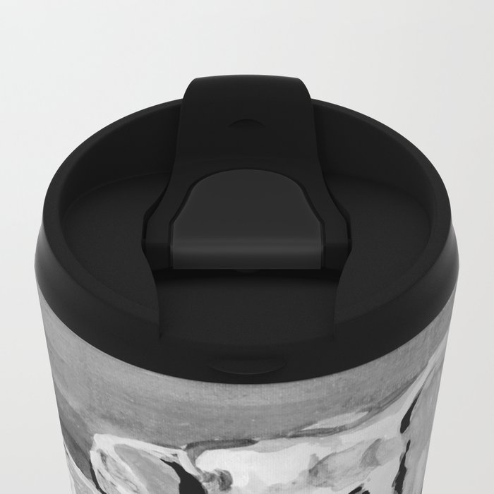 Black and white mother and baby elephant Metal Travel Mug