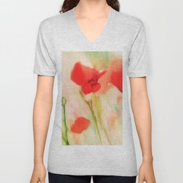 Poppies in a field Unisex V-Neck