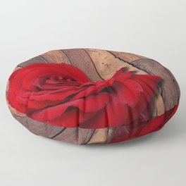 Red Rose & Wooden Background Floor Pillow