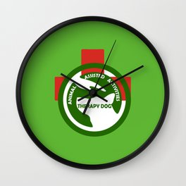 Animal Assisted Activities  - THERAPY DOG logo 2 Wall Clock